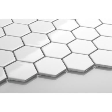 Heksagon biały - duży, szkliwiony