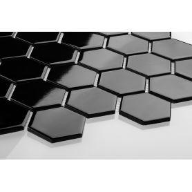Heksagon czarny - duży, szkliwiony