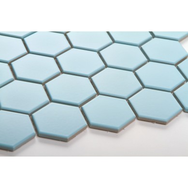Heksagon błękitny - duży, matowy