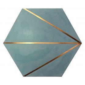 Xsarsa - Płytka cementowa heksagonalna zielona z mosiądzem