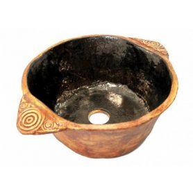 Wanda- gliniana umywalka z rustykalnymi uchwytami