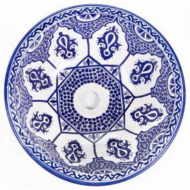 Saba - Niebieska marokańska umywalka nablatowa