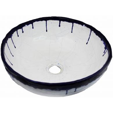 Alicja - umywalka ze spękaniami i niebieską koronką