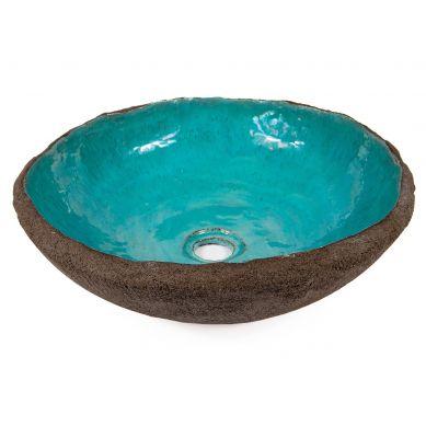 Etna - turkusowa umywalka o nieregularnym kształcie