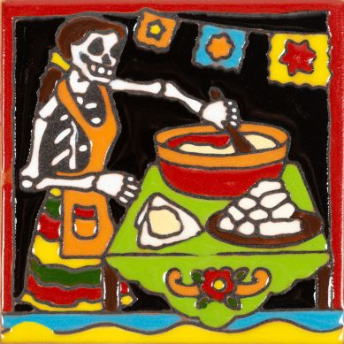 Catrina 22 - płytka ceramiczna z Meksyku