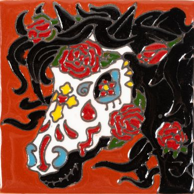 Catrina 20 - ceramiczna płytka Meksykańska Talavera