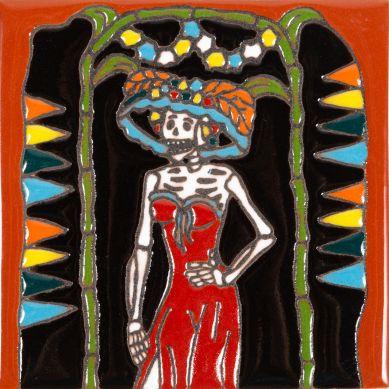 Catrina 28 - ceramiczna płytka Talavera
