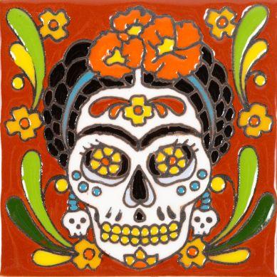 Frida - Seria Catrina - płytka Meksykańska z reliefem
