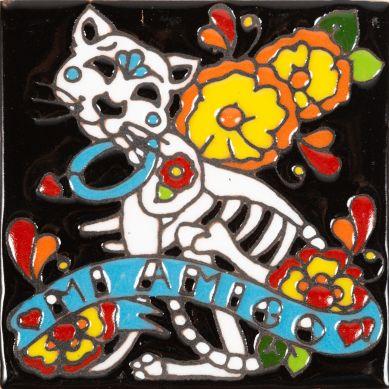 Gato - Seria Catrina - płytka ceramiczna z Meksyku