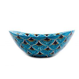 Azura - meksykańska umywalka nablatowa, wzór pawie oczko