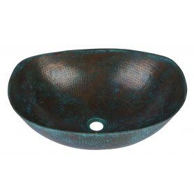 Picaflor- Umywalka miedziana patynowana- turkusowa