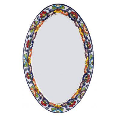 Meksykańskie lustro z reilefem owalne