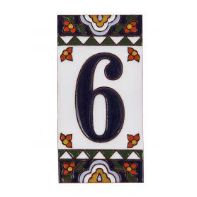 Ręcznie malowany ceramiczny numer domu nr. 6 i litera A