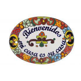 Ręcznie malowana ceramiczna tabliczka - szyld na drzwi
