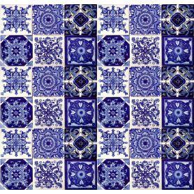 Tono - Zestaw płytek, biało-kobaltowy patchwork