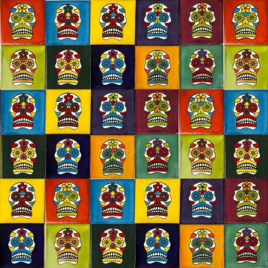 Calaveras - zestaw 10 kolorów płytek Talavera - 30 sztuk