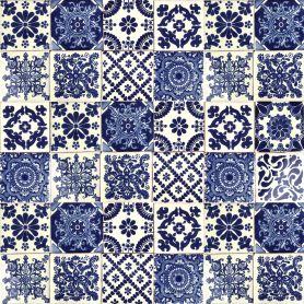 Azul Luz - Patchwork z płytek meksykańskich Talavera - 30 sztuk