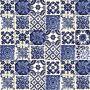 Azul luz - Piastrella in ceramica messicana con motivo della morte