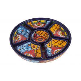 Redondo - ceramiczny półmisek Talavera do przekąsek - 7 części