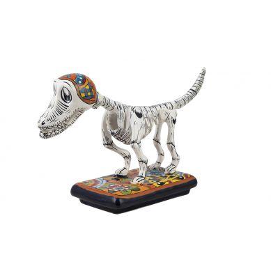 Perro y hueso - oryginalna figurka psa w technice Talavera
