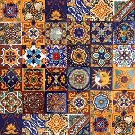 Girasol - Meksykański patchwork z płytek Talavera - 30 sztuk