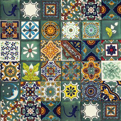 Verde - kolorowy patchwork z płytek meksykańskich- 30 sztuk
