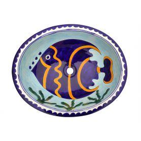 Pesca - Owalna umywalka z motywem morskim