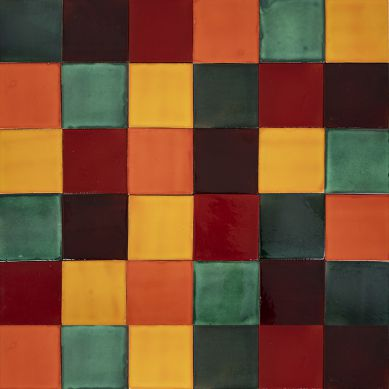 Borgońa - patchwork z płytek jednokolorowych