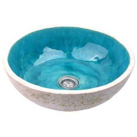 Flora - turkusowa umywalka z białą krawędzią