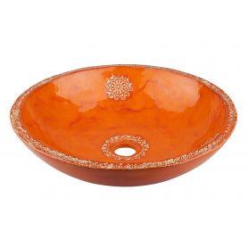 Konstancja - zdobiona pomarańczowa umywalka
