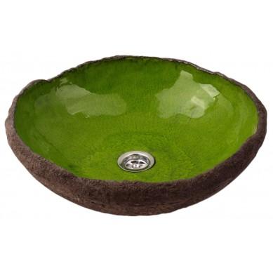 Szarlin - zielona umywalka o nieregularnym kształcie