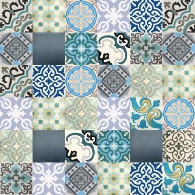 Patchwork płytki cementowe - odcienie niebieskiego